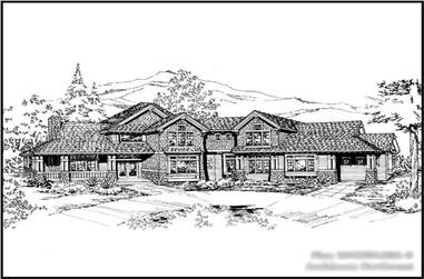 4-Bedroom, 4530 Sq Ft Country Home Plan - 115-1221 - Main Exterior
