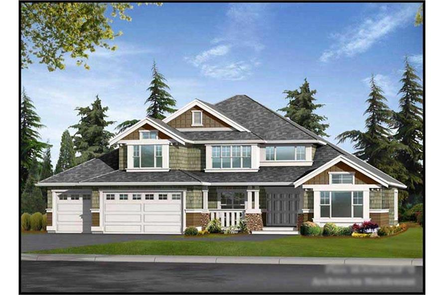 4-Bedroom, 3040 Sq Ft Craftsman House Plan - 115-1223 - Front Exterior