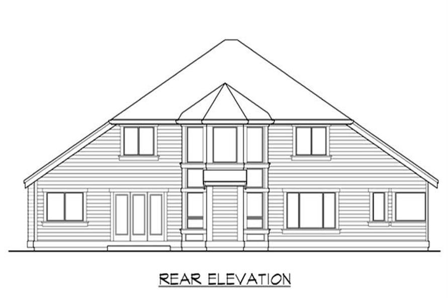 Home Plan Rear Elevation of this 4-Bedroom,3040 Sq Ft Plan -115-1223
