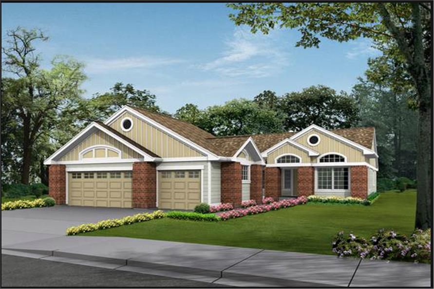 3-Bedroom, 2135 Sq Ft Ranch House Plan - 115-1224 - Front Exterior