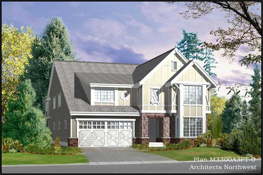 4-Bedroom, 3300 Sq Ft Tudor House Plan - 115-1225 - Front Exterior