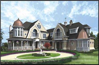 4-Bedroom, 9250 Sq Ft European House Plan - 115-1226 - Front Exterior