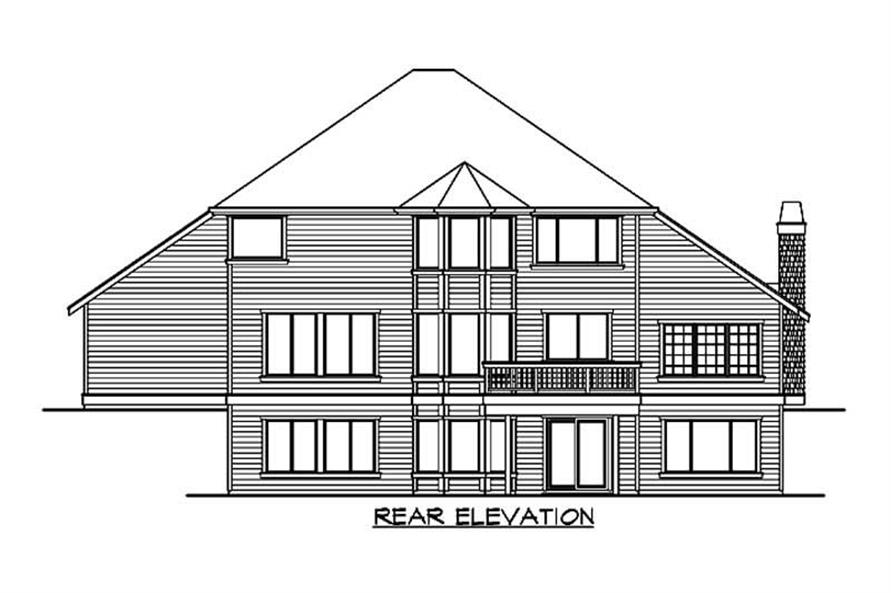 Home Plan Rear Elevation of this 4-Bedroom,3213 Sq Ft Plan -115-1227