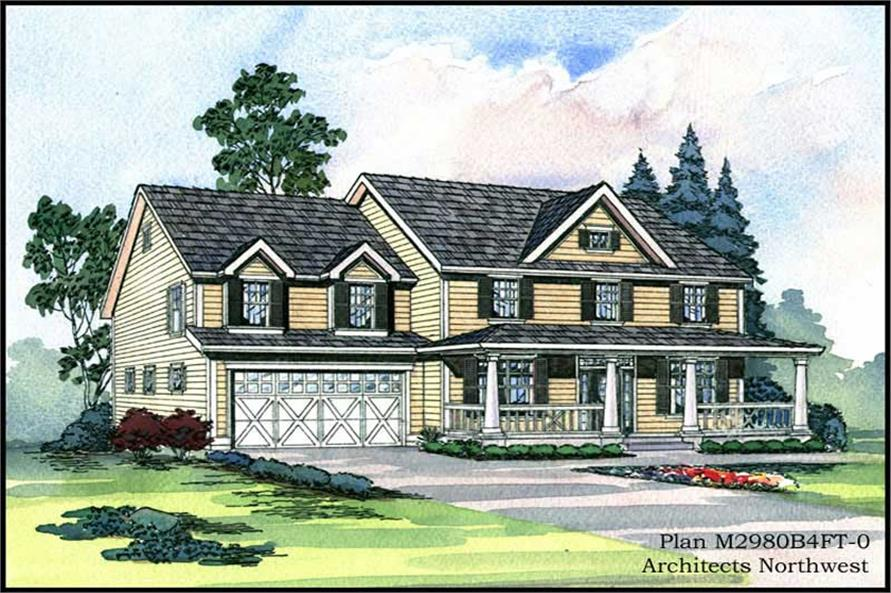 Main Elevation of this 3-Bedroom,2980 Sq Ft Plan -2980