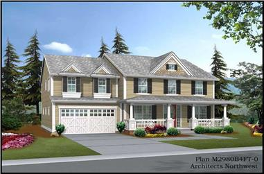 3-Bedroom, 2980 Sq Ft Farmhouse House Plan - 115-1229 - Front Exterior