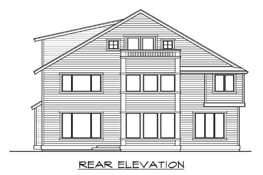 Home Plan Rear Elevation of this 4-Bedroom,3718 Sq Ft Plan -115-1231