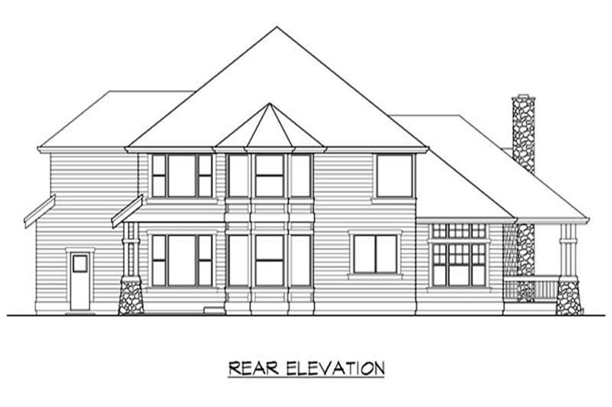 Home Plan Rear Elevation of this 4-Bedroom,3715 Sq Ft Plan -115-1235
