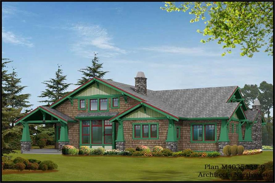 Home Plan Rear Elevation of this 4-Bedroom,4035 Sq Ft Plan -115-1240
