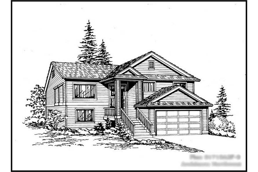 5-Bedroom, 1715 Sq Ft Ranch House Plan - 115-1242 - Front Exterior