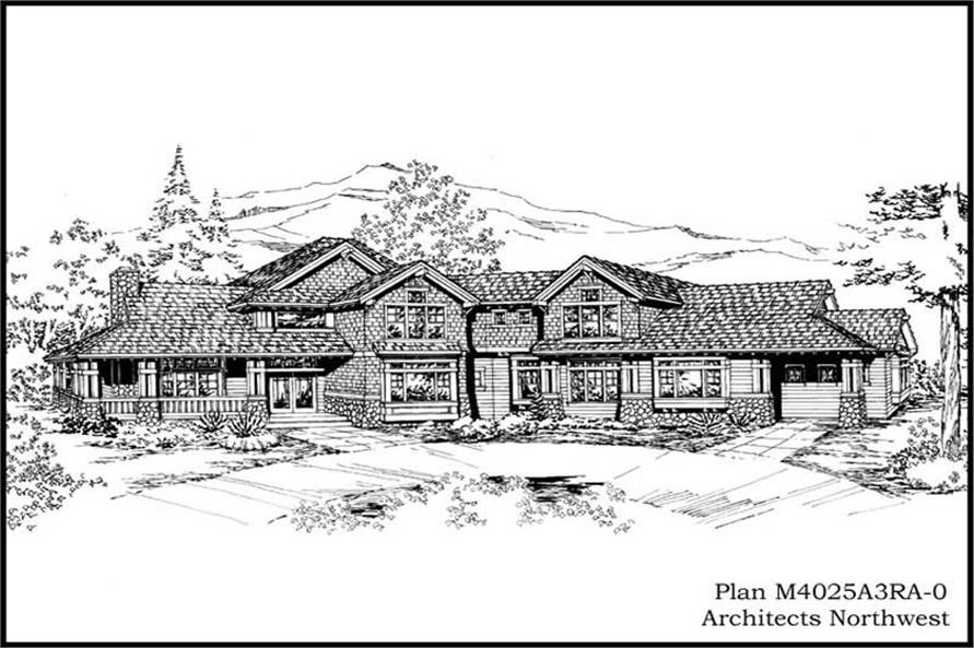 Front Elevation of this 4-Bedroom,4025 Sq Ft Plan -4025