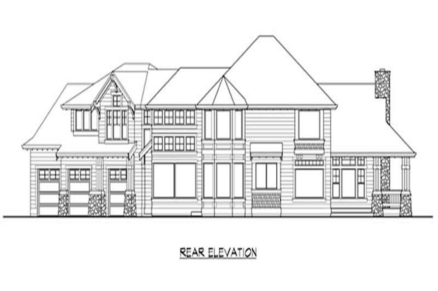 Home Plan Rear Elevation of this 4-Bedroom,4025 Sq Ft Plan -115-1243