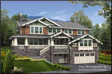 4-Bedroom, 4379 Sq Ft Multi-Level Home Plan - 115-1244 - Main Exterior
