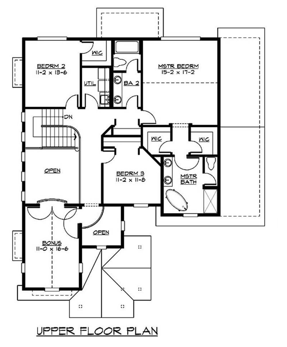 Craftsman bungalow home with 3 bedrms 2805 sq ft plan for Second story floor plan