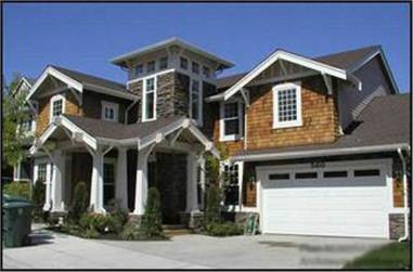 This is an actual color photo of these very popular Craftsman House Plans.