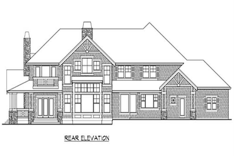 Home Plan Rear Elevation of this 4-Bedroom,4300 Sq Ft Plan -115-1247