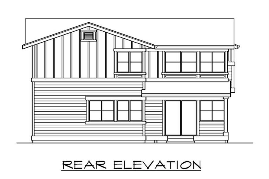 Home Plan Rear Elevation of this 3-Bedroom,1528 Sq Ft Plan -115-1254