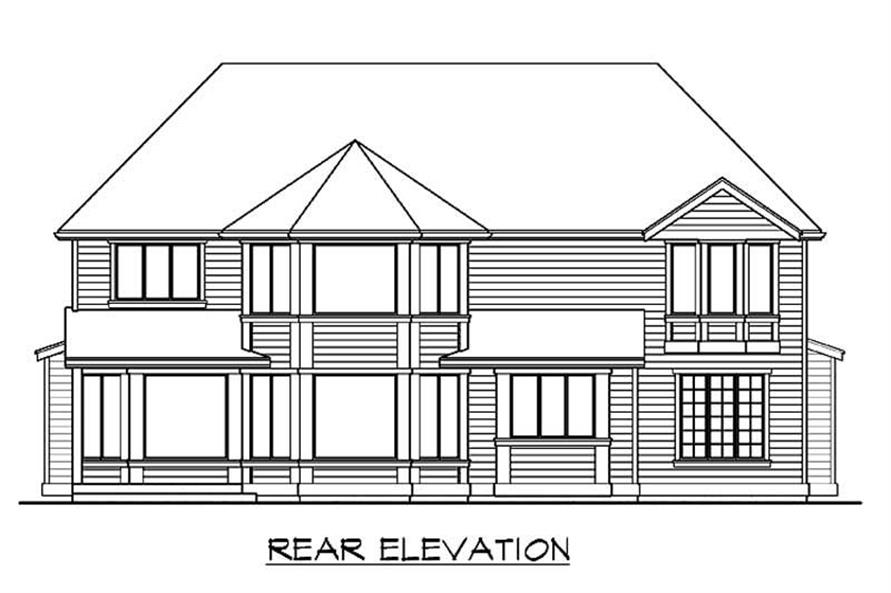 Home Plan Rear Elevation of this 4-Bedroom,4120 Sq Ft Plan -115-1255
