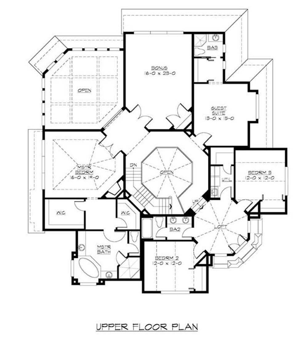 Large images for house plan 115 1256 for Second story floor plan