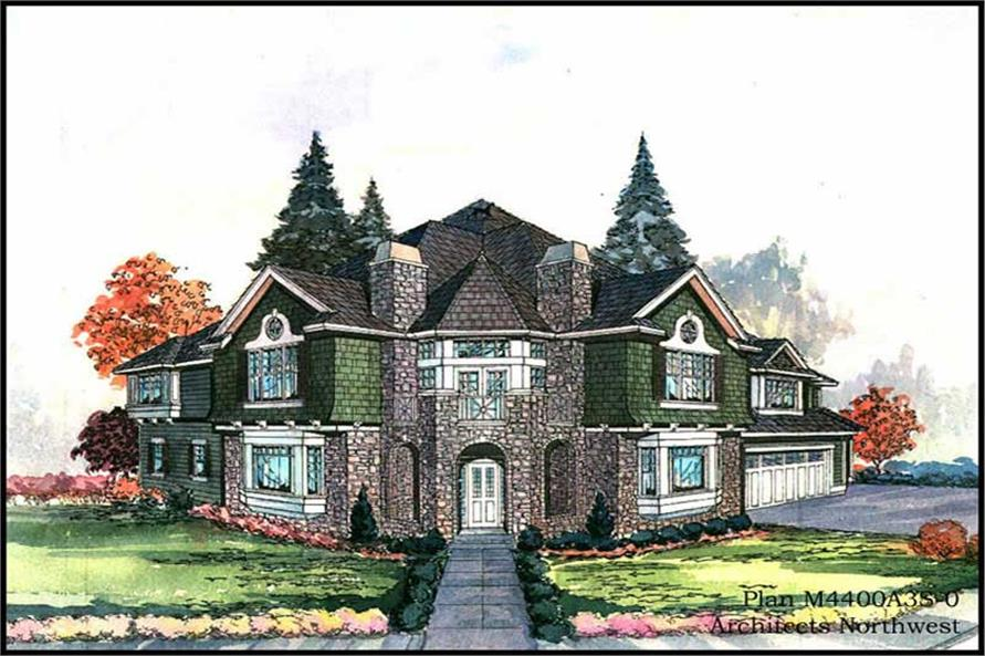 Main Elevation of this 4-Bedroom,4400 Sq Ft Plan -4400