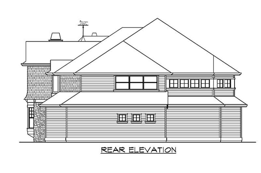 Home Plan Rear Elevation of this 4-Bedroom,4400 Sq Ft Plan -115-1256