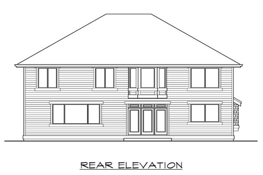 Home Plan Rear Elevation of this 4-Bedroom,3050 Sq Ft Plan -115-1258