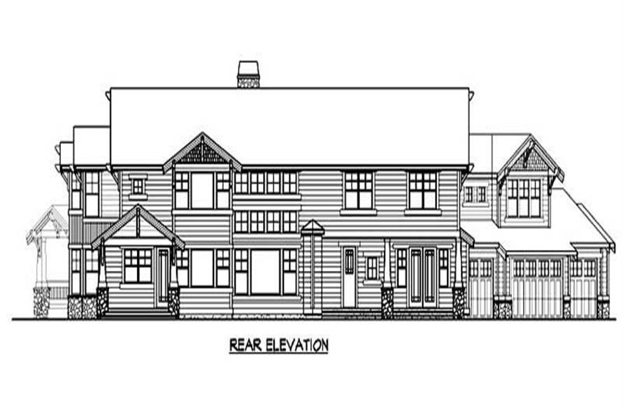 Home Plan Rear Elevation of this 4-Bedroom,5940 Sq Ft Plan -115-1267