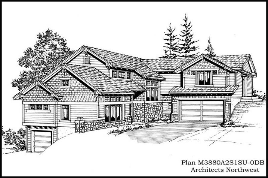 4-Bedroom, 3880 Sq Ft Multi-Level Home Plan - 115-1269 - Main Exterior