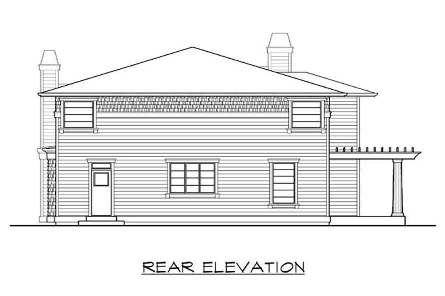 Home Plan Rear Elevation of this 4-Bedroom,2660 Sq Ft Plan -115-1284