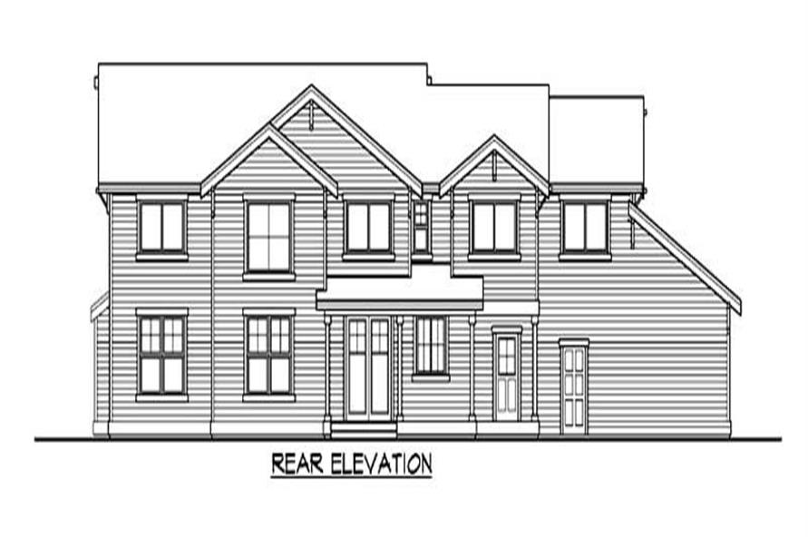 Home Plan Rear Elevation of this 4-Bedroom,3671 Sq Ft Plan -115-1287