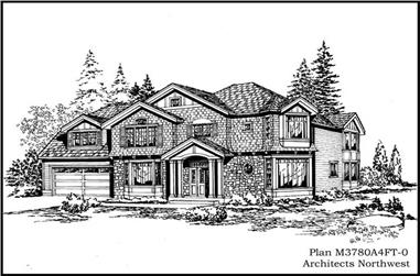 3-Bedroom, 3780 Sq Ft European Home Plan - 115-1289 - Main Exterior