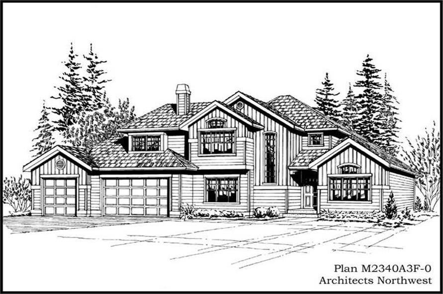 4-Bedroom, 2340 Sq Ft European House Plan - 115-1294 - Front Exterior