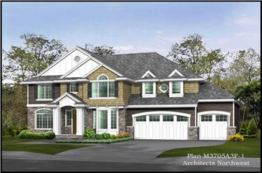 4-Bedroom, 3635 Sq Ft Shingle Home Plan - 115-1295 - Main Exterior