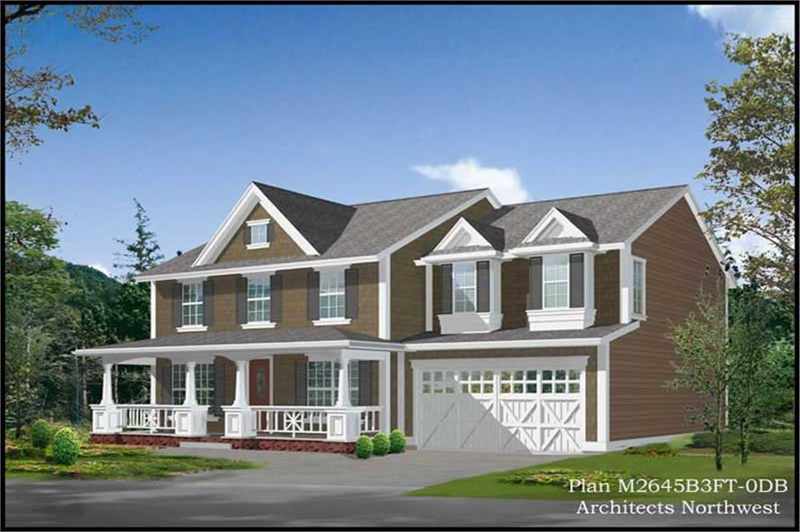 5-Bedroom, 3320 Sq Ft Country Home Plan - 115-1300 - Main Exterior