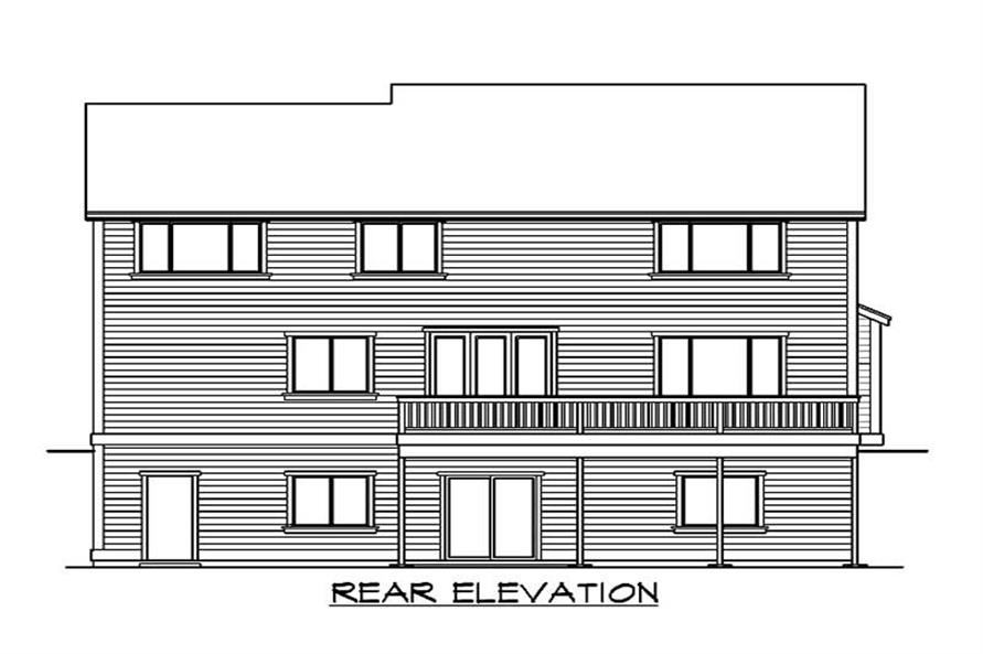Home Plan Rear Elevation of this 5-Bedroom,3320 Sq Ft Plan -115-1300
