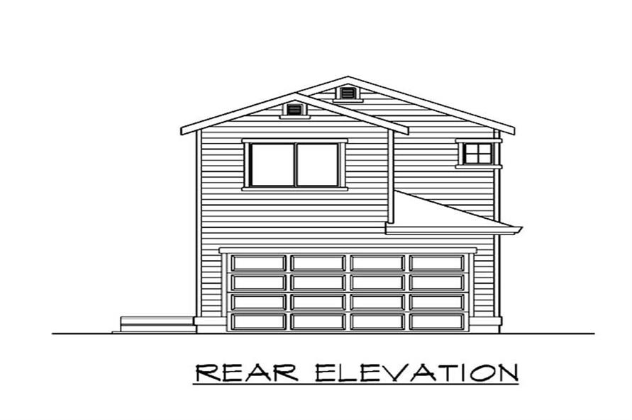 Home Plan Rear Elevation of this 4-Bedroom,1675 Sq Ft Plan -115-1301