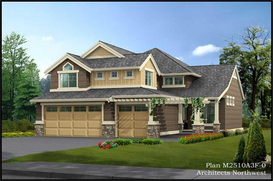 3-Bedroom, 2510 Sq Ft Multi-Level Home Plan - 115-1302 - Main Exterior