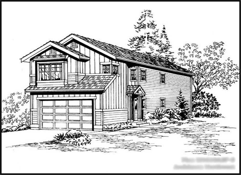 Front elevation of Multi-Level home (ThePlanCollection: House Plan #115-1304)