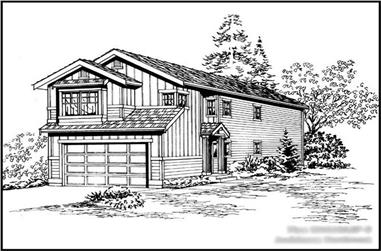 4-Bedroom, 1610 Sq Ft Multi-Level House Plan - 115-1304 - Front Exterior