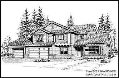 4-Bedroom, 4200 Sq Ft European House Plan - 115-1307 - Front Exterior