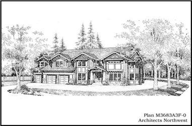 4-Bedroom, 3683 Sq Ft Craftsman House Plan - 115-1308 - Front Exterior