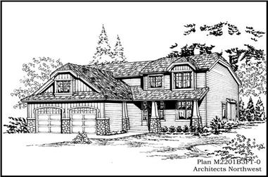 4-Bedroom, 2429 Sq Ft Ranch House Plan - 115-1310 - Front Exterior