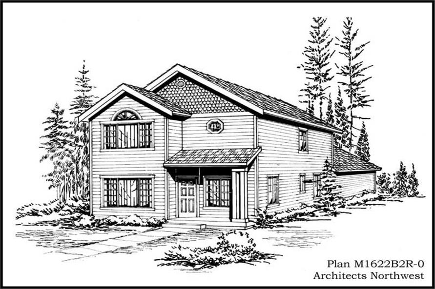 4-Bedroom, 1622 Sq Ft Multi-Level House Plan - 115-1317 - Front Exterior