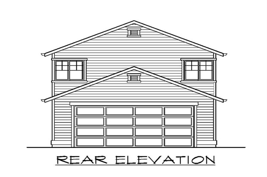 Home Plan Rear Elevation of this 4-Bedroom,1622 Sq Ft Plan -115-1317