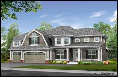 3-Bedroom, 3745 Sq Ft Colonial Home Plan - 115-1318 - Main Exterior