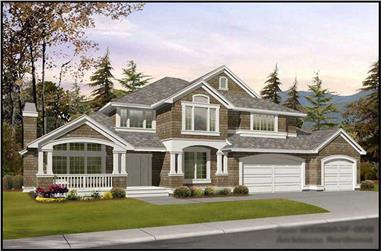5-Bedroom, 4377 Sq Ft Shingle House Plan - 115-1319 - Front Exterior