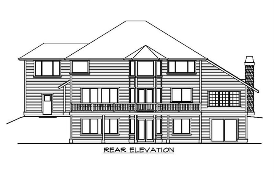 Home Plan Rear Elevation of this 5-Bedroom,4377 Sq Ft Plan -115-1319