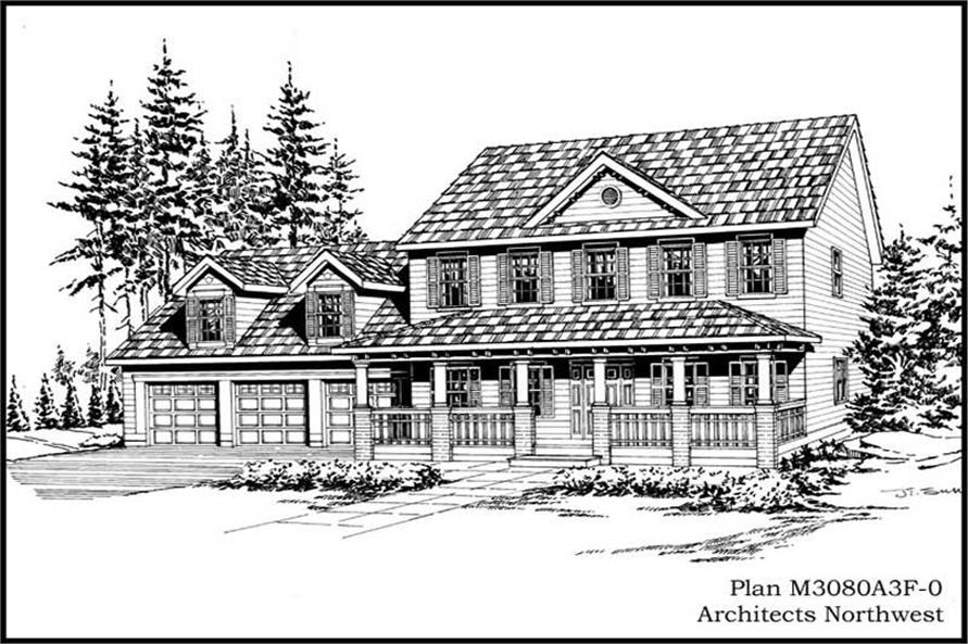 4-Bedroom, 3080 Sq Ft Country Home Plan - 115-1321 - Main Exterior