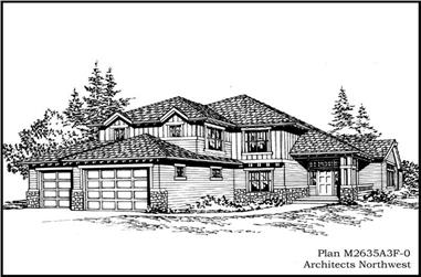 3-Bedroom, 2635 Sq Ft Ranch House Plan - 115-1325 - Front Exterior