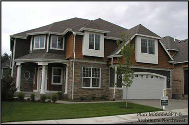 4-Bedroom, 3555 Sq Ft Shingle Home Plan - 115-1328 - Main Exterior