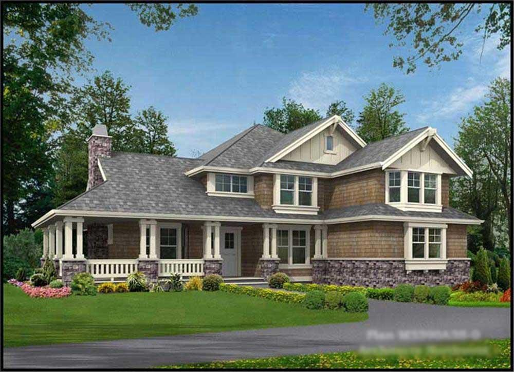 Front elevation of Shingle home (ThePlanCollection: House Plan #115-1329)